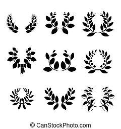 Set of little  laurel wreaths
