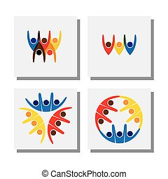 set of lively happy excited people friends logo - vector icons