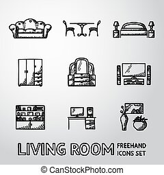Set of Living Room freehand icons - sofa, dining table, bed, cupboard, mirror, tv, bookshelf, vases with picture. Vector