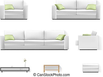 White sofa with green pillow - Set of living room furniture....