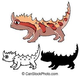 Set of lizzard cartoon illustration