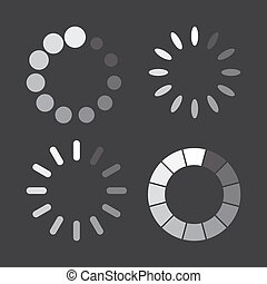 Set of loading icons in a flat design. Vector illustration