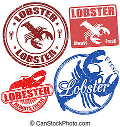 Set of lobster stamps - Set of lobster grunge stamps, vector...