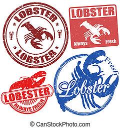 Set of lobster stamps - Set of lobster grunge stamps, vector...