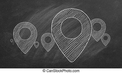 Location icons drawn in chalk on a blackboard.