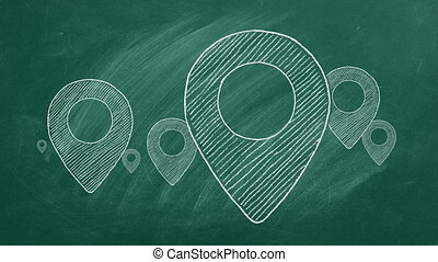 Location icons drawn in chalk on a green chalkboard. Seamless loop video.