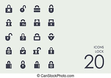 Set of lock icons