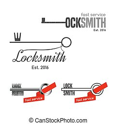 Set of locksmith vector logos. Safety concept icons