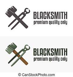 Set of logo, badge, label, emblem and logotype elements for blacksmith