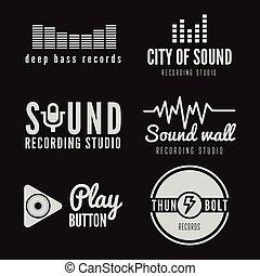 Set of logo, badge, label, sticker, emblem, print and ...
