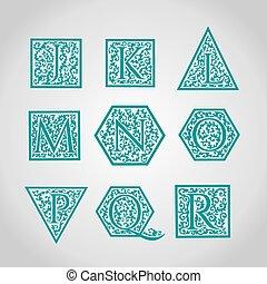 Set of Logo designs. Artistically Drawn, Stylized, Vintage Floral