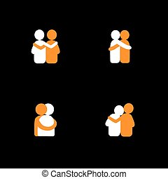 set of logo designs of friends hugging each other - vector icons on black background