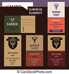 Set of logo for barber shop, style corporate salon for man and women. Business card and banner. Status and elegance.