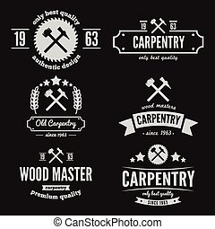 Set of logo, label, badge and logotype elements for sawmill,...