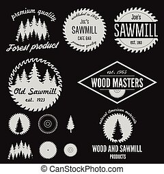 Set of logo, labels, badges or logotype elements for sawmill...