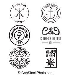 Set of logo, sticker, emblem, print, label and logotype elements for clothing or design