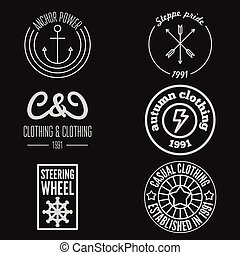 Set of logo, sticker, emblem, print, label or logotype elements for clothing and design