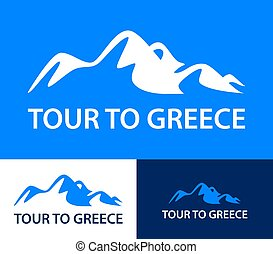 Set of logo templates for a tours to Greece. Colorful vector illustration in blue color with mountains