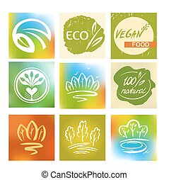 Set of logos, avatars for natural, environmentally friendly food
