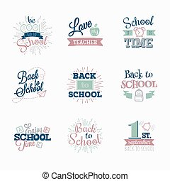 Set of logos. Back to school.