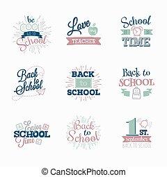 Set of logos. Back to school.