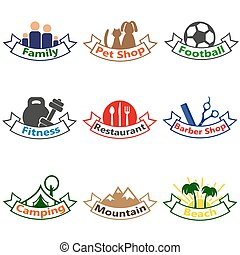 Set of logos, badges, labels.