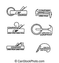 Set of logos, emblems of joiner's tools