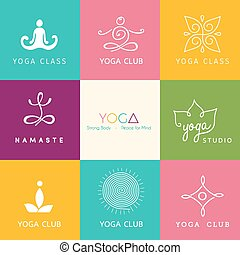 Set of logos for a yoga studio