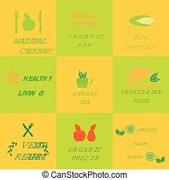 Set of logos for organic and natural food
