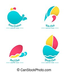 set of logos for water activities
