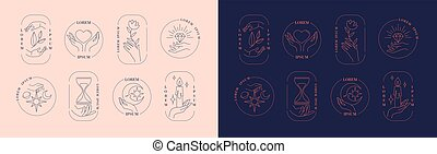 Set of logos of framed hands holding objects