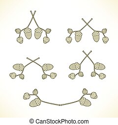 set of logos of the branches with acorns