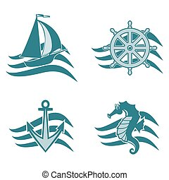 Set of logos on the theme of the sea