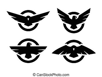 Set of logos with an eagle silhouette.