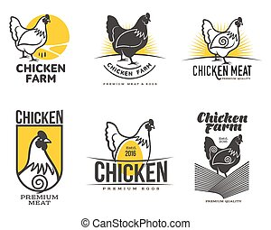 set of logos with chicken