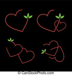 Set of logos with red hearts
