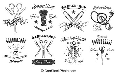 Set of logotype for barbershop in black and white style. Emblems with tools and letterings