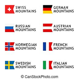 Set of Logotypes templates for tours to Mountains, Alps, Scandinavia, Caucasian Mountains