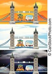 Set of London bridge scenes illustration
