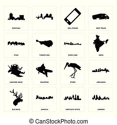 Set of london, kentucky state, elk head, stork, unicorn maryland, utah, cell phone, montana icons