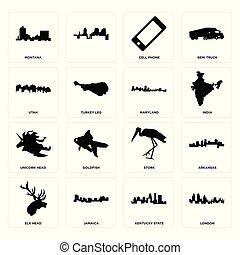Set of london, kentucky state, elk head, stork, unicorn maryland, utah, cell phone, montana icons
