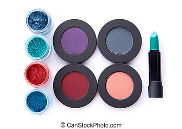 Set of loose and pressed eyeshadows, and lipstick