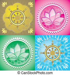 set of lotus and drahma wheel
