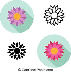 Set of Lotus flower icons in flat style, vector