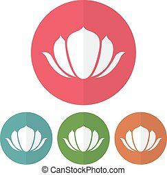 Set of lotus icon on a colorful circles. Vector illustration