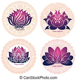 Set of lotuses and esoteric symbols.