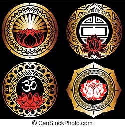 Set of lotuses and esoteric symbols - Lotus