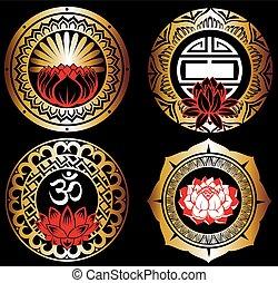 Set of lotuses and esoteric symbols