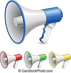 Set of loudspeakers - Loudspeaker as announcement icon. ...