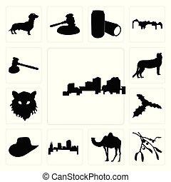 Set of louisiana outline on white background, mistletoe camel colorado background icons